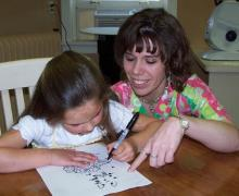 Children's vision therapy session
